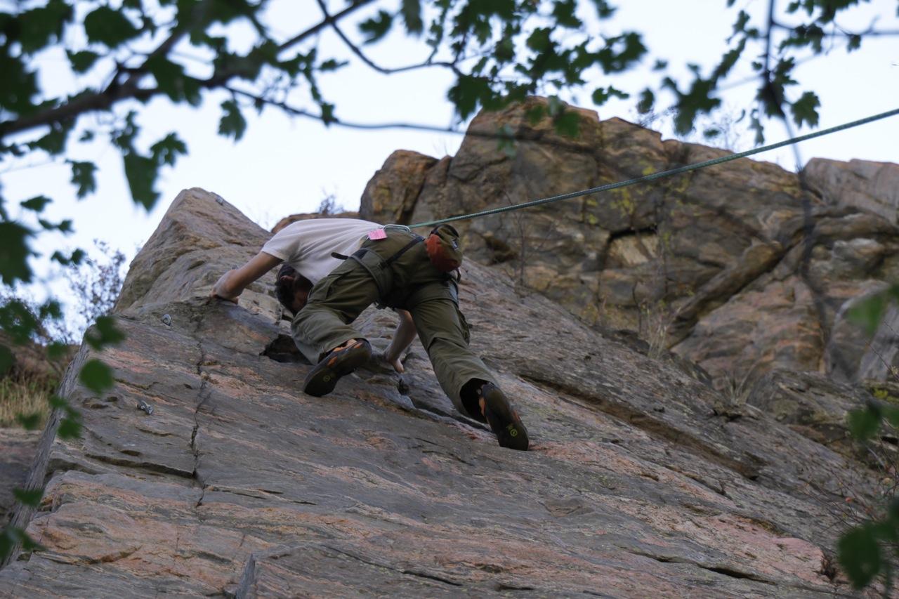 Loren climbing