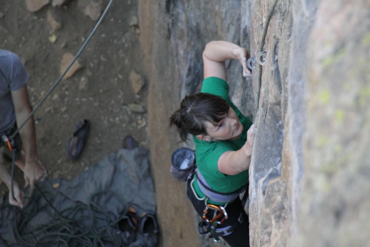 Kristen climbing