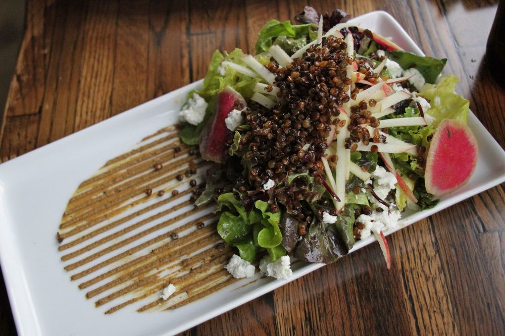 Crispy lentil salad with goat cheese, gala apples, and pistachio paste!
