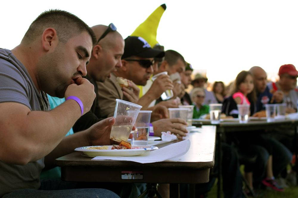 The contestants of the eating contest