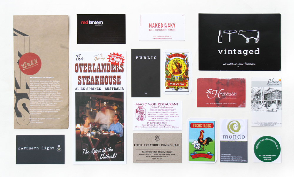 A sampling of paper mementos from the Aussie restaurants we loved