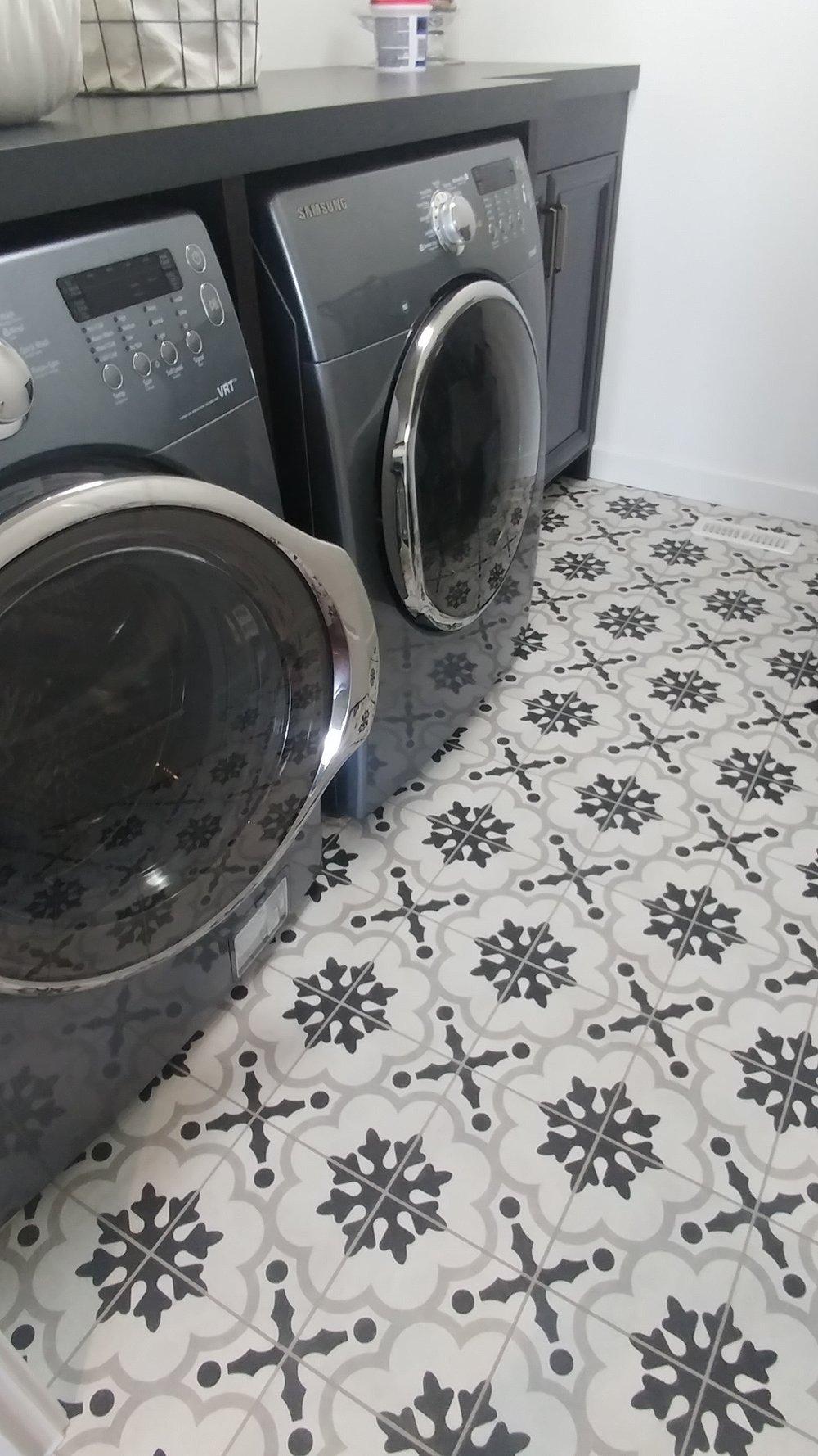 Bold laundry room floor