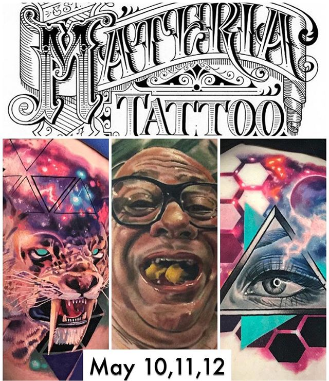 NOW BOOKING — Downingtown, PA!  I'll be at @materiatattoo in Downingtown PA- I have may 10 and 11 available!  email me or DM to book while I visit!  Maybe @Deadmeat will teach me his 1337 skillz too 😎