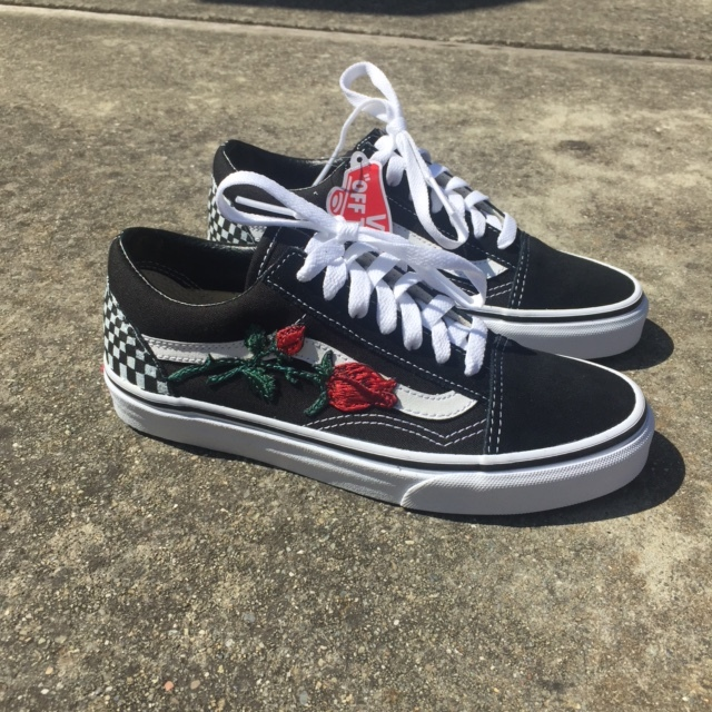 64073ce046fd Vans Black Checkered Rose Embriodery Custom — vintagewavez