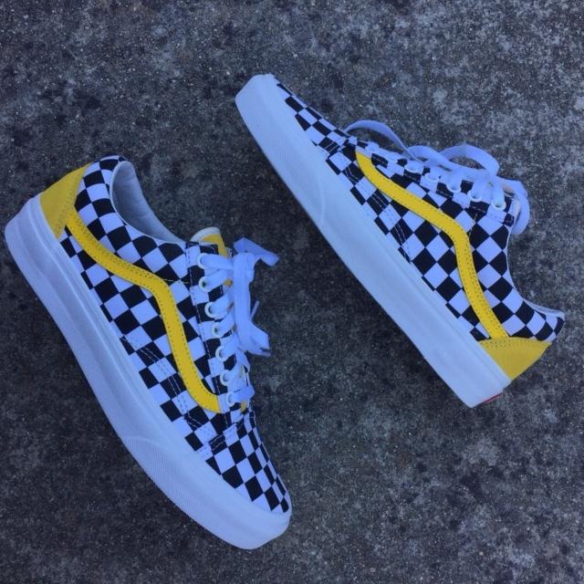 yellow black and white checkered vans