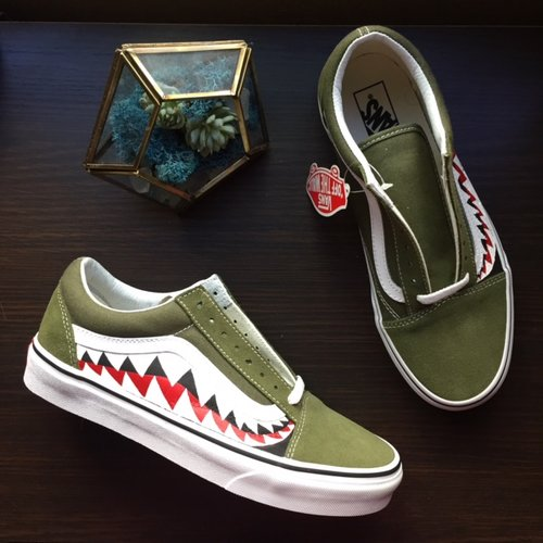 766312eded Vans  harktooth Custom Moss Green — vintagewavez