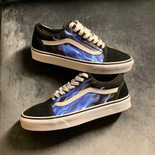 26bd9a4f6b93 Blue Flamez Vans Custom — vintagewavez