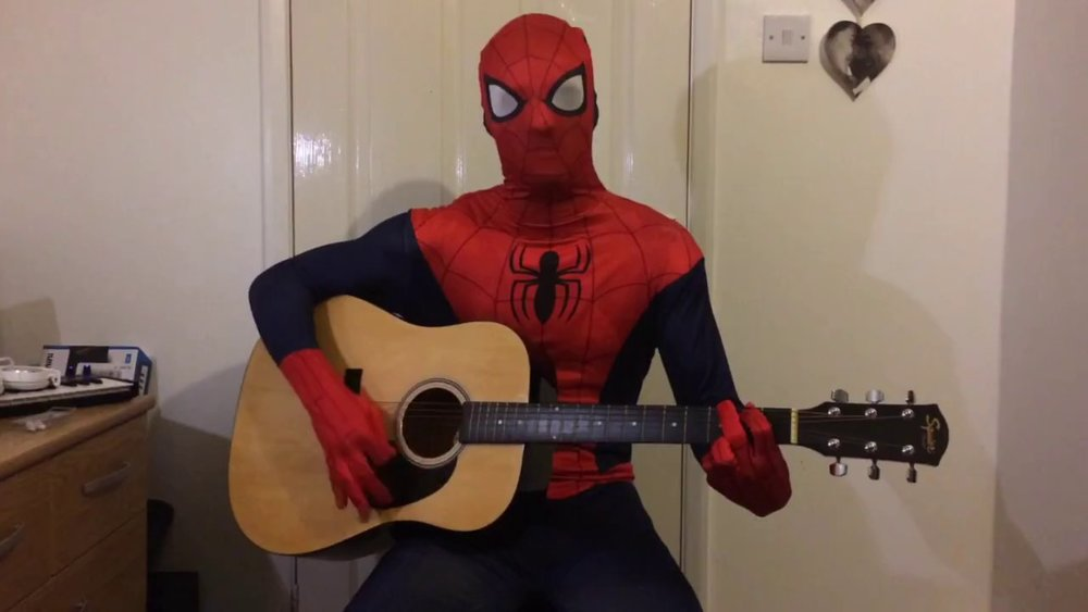 "this is what happens when you google ""spiderman with a guitar""  anyway, here's spiderweb"