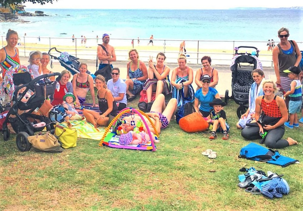 Meet North Bondi Surf Club & if we are using baby sitters we leave our gear next to surf club on grasses area!