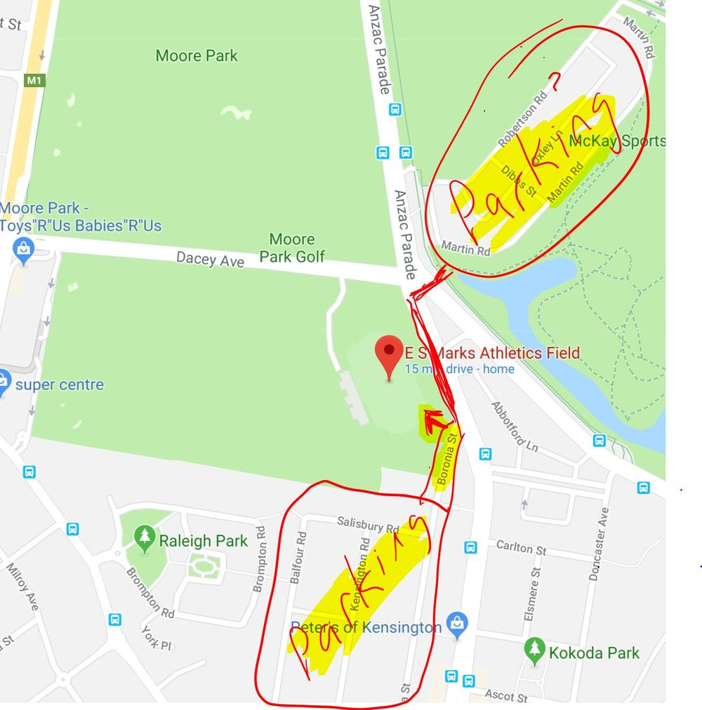 ES Marks Athletic Field  - corner Boronia St/ Anzac Parade/ Allison Road/ Dacey Ave. Entry via Boronia St. $6 track fee or multi visit passes available  here