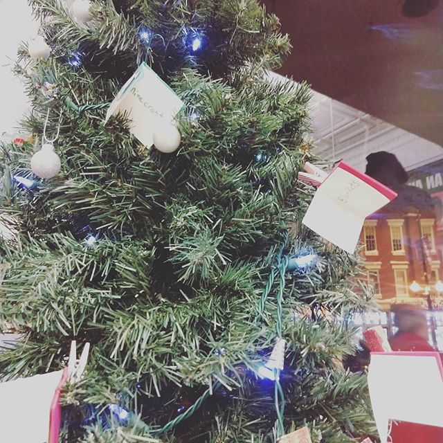 Our tree holds ornaments that have gift ideas to bring in for the Kane County Child Advocacy Center.  Come pick an ornament or just bring in some gifts for children this season! #give #gro