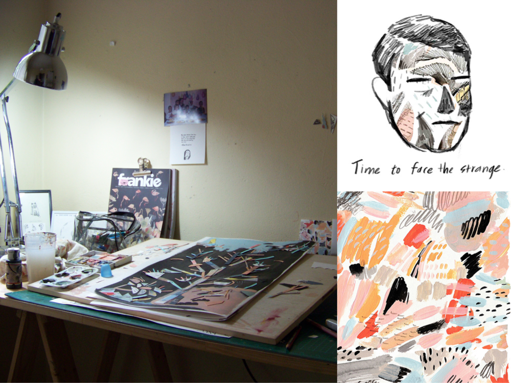 The current studio of Kobie Nieuwoudt, an illustrator based in Cape Town, South Africa.