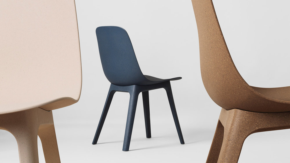 IKEA Odger chair made from recycled wood and plastic. Image source: https://dezeen.com