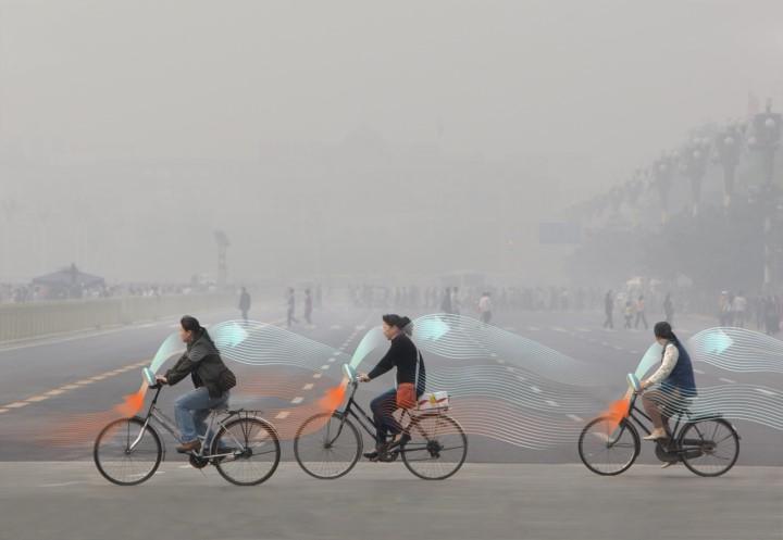 Artisic impression of OFO bike purifier. Image source: www.designboom.com