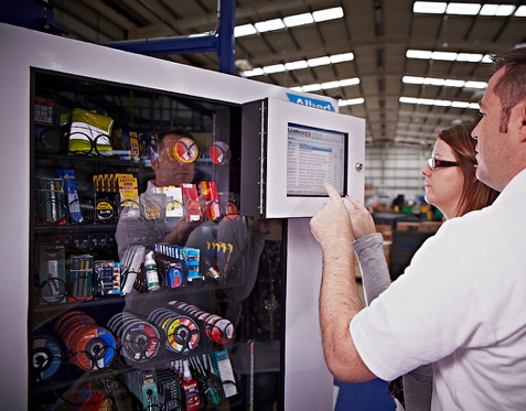 Vending machines dispense tooling and supplies directly at Points of Use throughout the manufacturing line.  Reporting is instantly available online for real-time analysis and spend reduction.