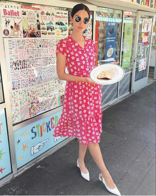 Regram stunning @LilyAldridge in the hot pink poppy Charlotte dress 🍒💘💕🎀 Available @netaporter, @capitolclt, & hvnlabel.com