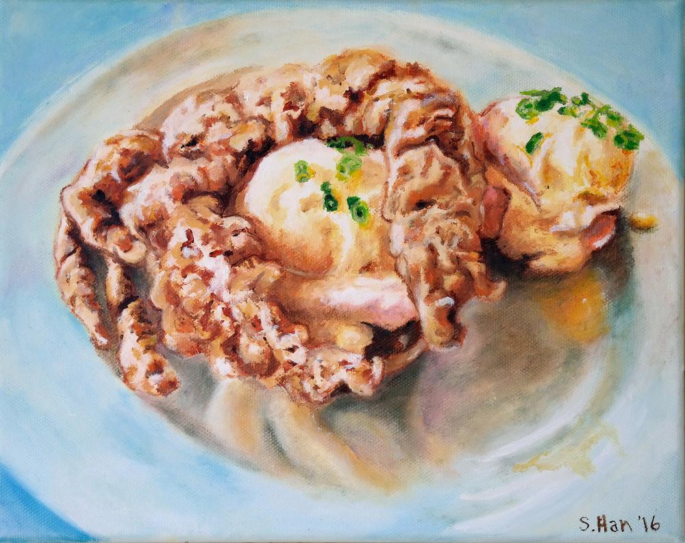Soft shell crab benedict