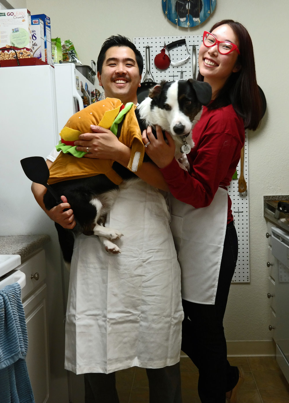Halloween 2016: The Bob's Burger family - Justin as Bob, Me as Linda and Chewie as a cheeseburger