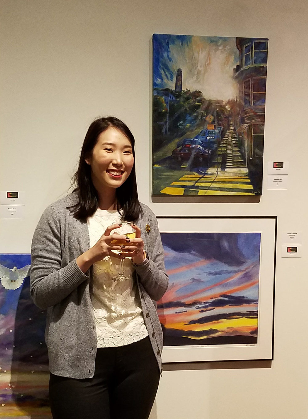 "Standing in front of my painting ""Stairway to Heaven"" at the Pacific Art League"