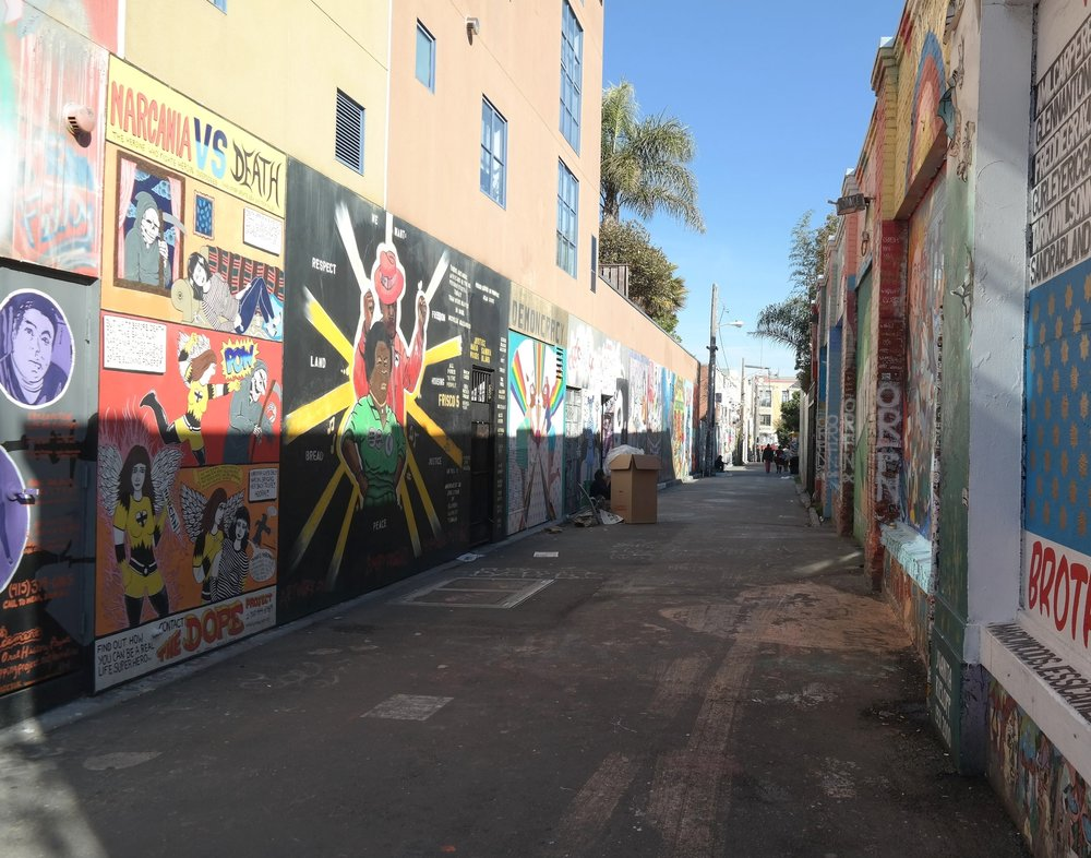 Clarion Alley in the Mission, known for its street murals.