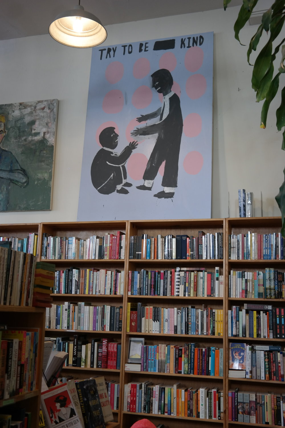 Hanging artwork at Dog Eared Books.