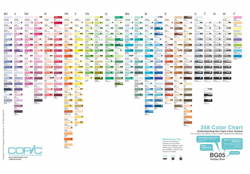 Exhibit 1: Copic Color Chart courtesy of Imagination International Inc.