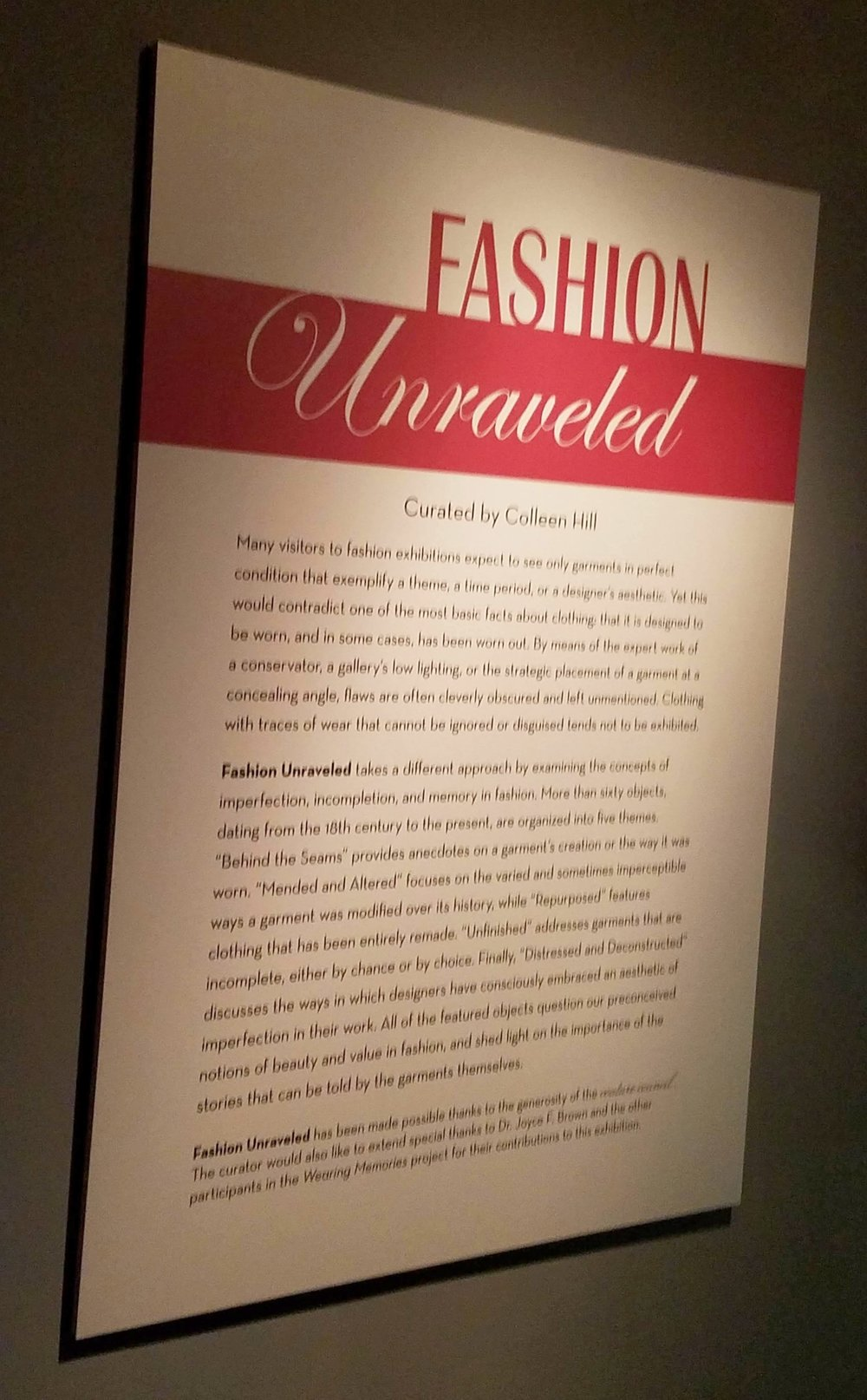 'Fashion Unraveled' Exhibit at the Fashion Institute of Technology (FIT) Museum