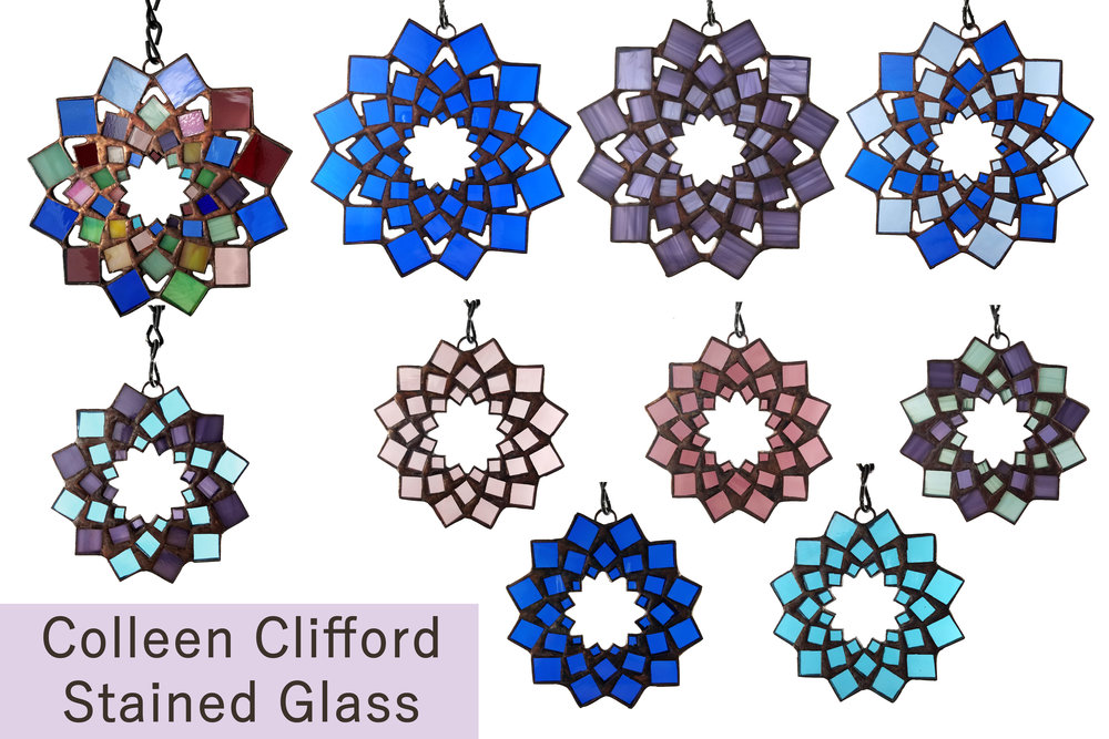 Snowflake Ornament Mandalas ~ Stained Glass by Colleen Clifford ~ serving Humboldt county and beyond