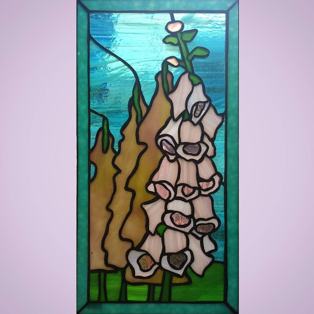 Fair Foxglove ~ Stained Glass by Colleen Clifford ~ serving Humboldt County and beyond