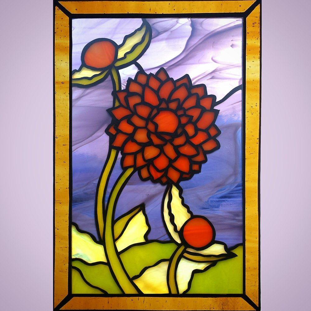Peach Dahlia ~ Stained Glass by Colleen Clifford ~ serving Humboldt County and beyond
