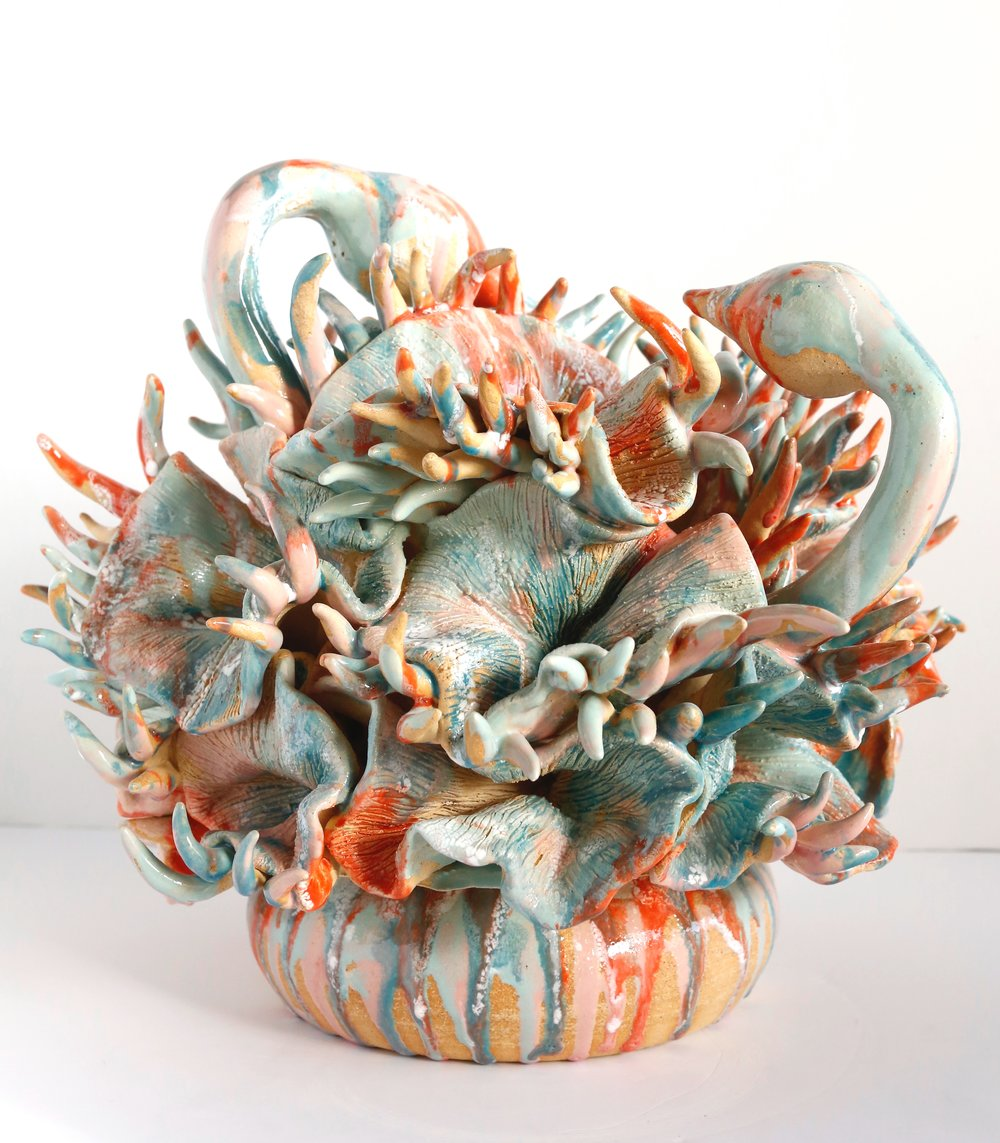 """Seaside Sorbet""  2015  Soneware clay and underglaze  SOLD"