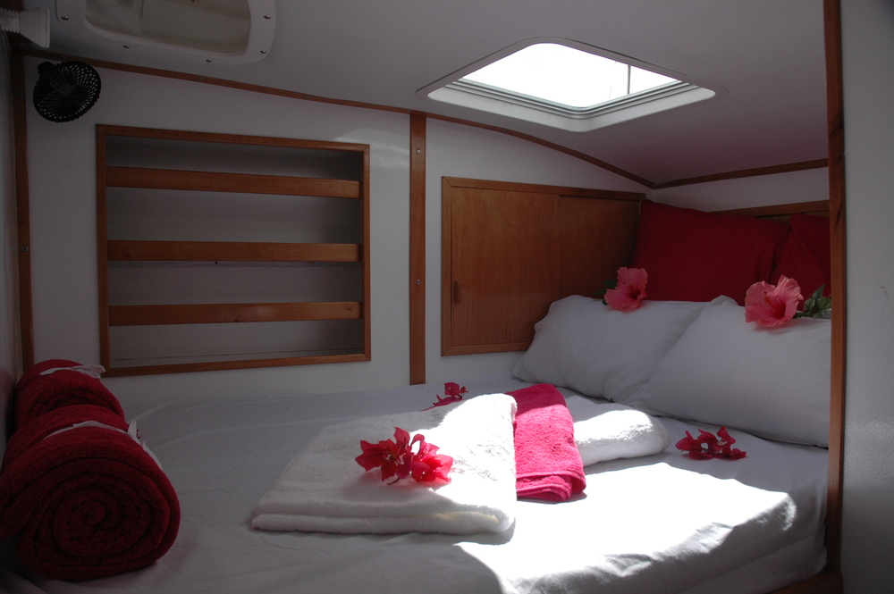 Luxury Bed on a charter yacht in Madagascar