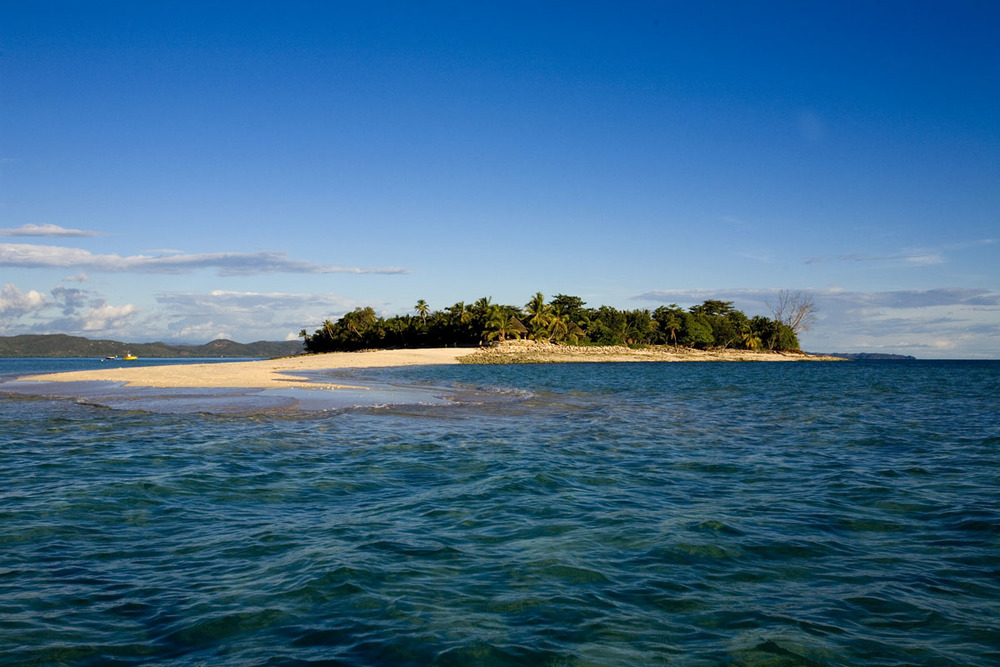 a neighbouring island seen from the beach of the Ravintsara Wellness Hotel, Nosy Be