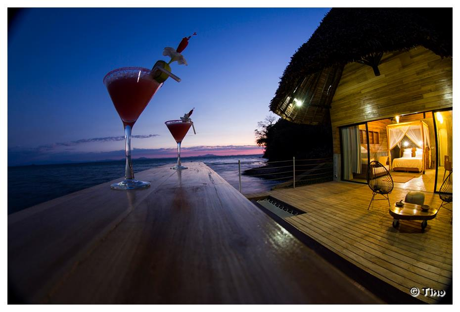Cocktails and sunset at L'Heure Bleue Hotel, Nosy Be, Madagascar