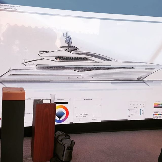 Goodday you all, it is already the last day of the show! Yesterday the final sketch session was too difficult to guess. Do you know which Superyacht this is?  @boatinternational  @superyachttimes  @superyachtnews 🍾 We challenge you all to step by our stand, guess the yacht of today and win that bottle Taittinger! DSE8, in front of La Rascasse, 15.30. See you there 🛥