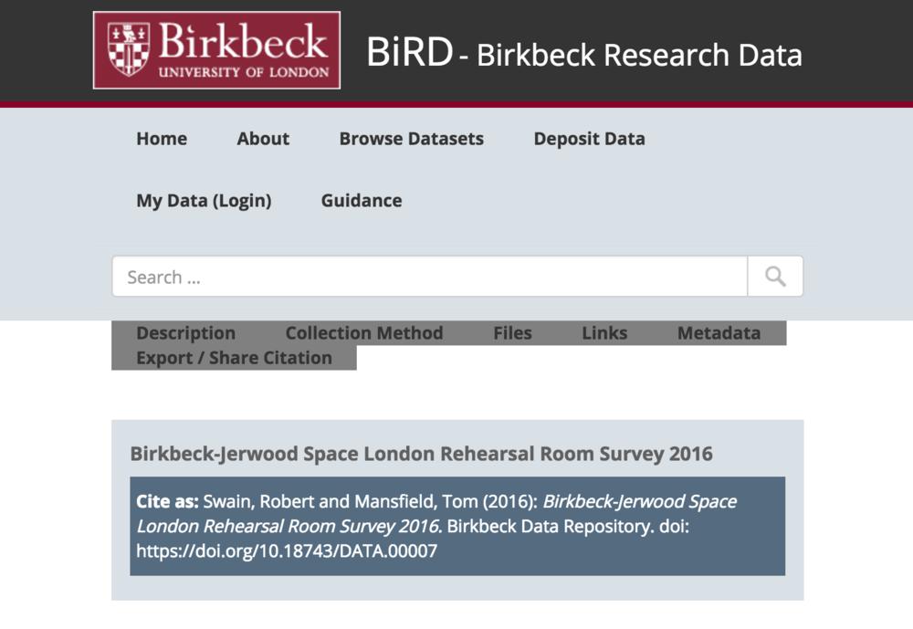 BiRD - Birkbeck Research Data -