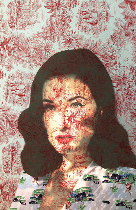 Dita Von Teese face Los Angeles (on red tiger toile, Dutch cow print) 2016