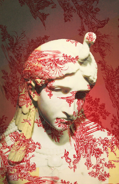 Marble bust of Aphrodite Berlin (on red and yellow water music toile) 2016