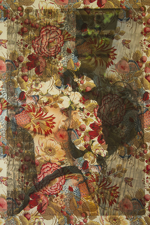 Demi Moore flower profile Los Angeles (on vintage floral peacock toile) 2016