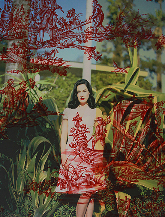 Dita Von Teese standing with succulents Los Angeles (on red andyellow striped Water  Music toile) 2015