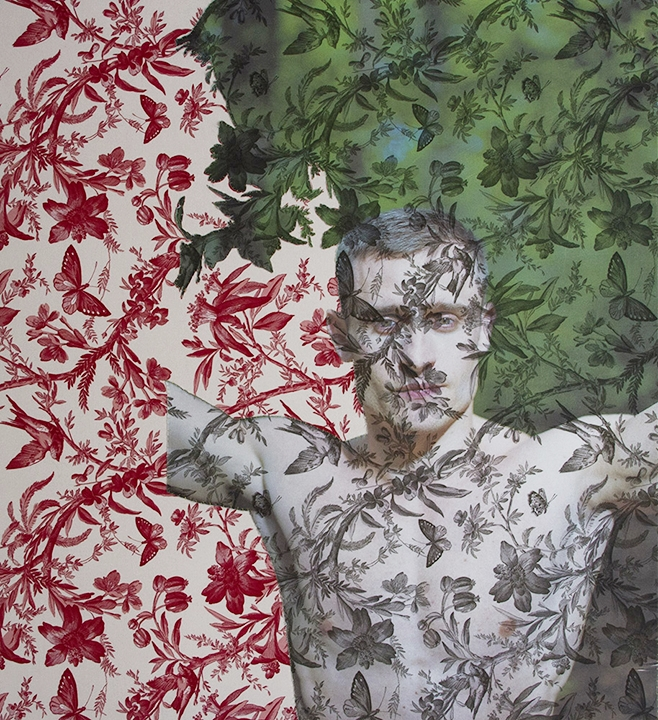 Arnaud Cizergues <br/>face and torso Giverny <br/>(on both red and black butterfy toiles) 2016