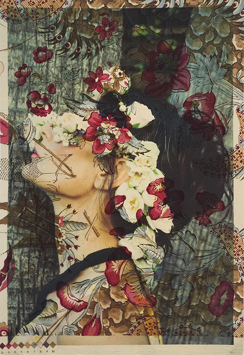 Demi Moore profile with flowers Los Angeles (on vintage Chinese toile) 2015
