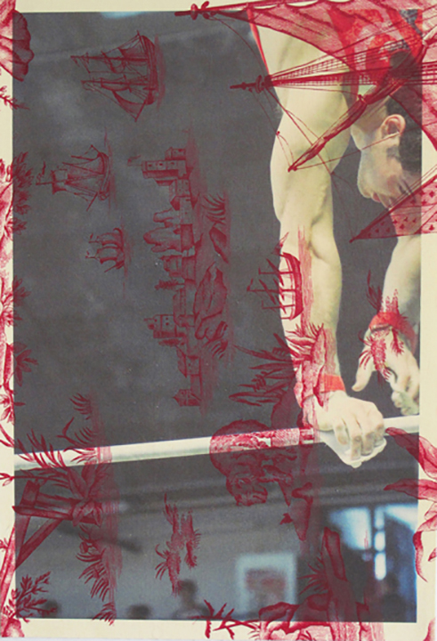 Gymnast high bar Rouen (on red Indian toile) 2013