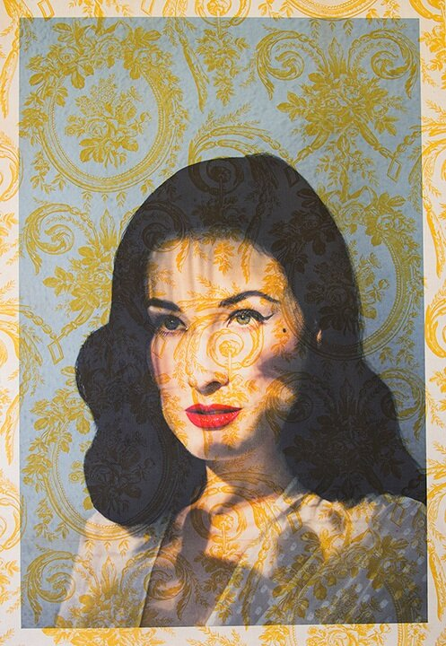Dita Von Teese face Los Angeles <br/>( on vintage yellow fleur de lis toile) 2016