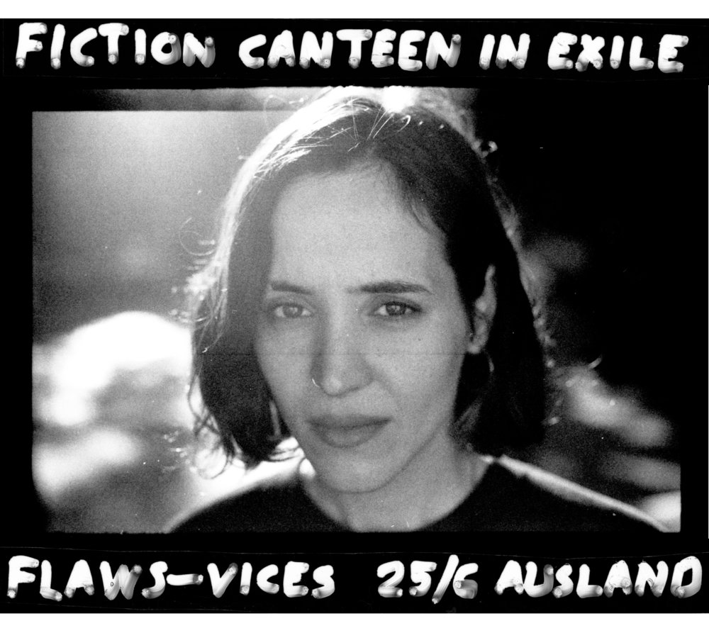 Poster for Lucy's and my Fiction Canteen reading series, with readers Andrea Scrima, Ben Miller, and Charlotte Wührer 🔥 S.2000 modelling the glare 🔥 June 2017