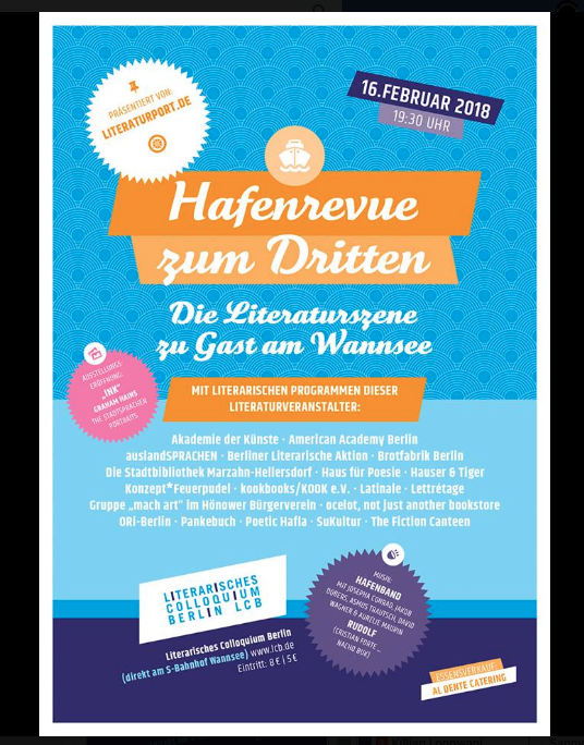 🧚‍♀️🤺We'll be presenting the Fiction Canteen at the Hafenrevue at the  Solveig Lcb  on Friday 16 February. Come and support some of your favourites, we'll have  Mc Jabber  and Kathleen Heil.🧚‍♀️🤺