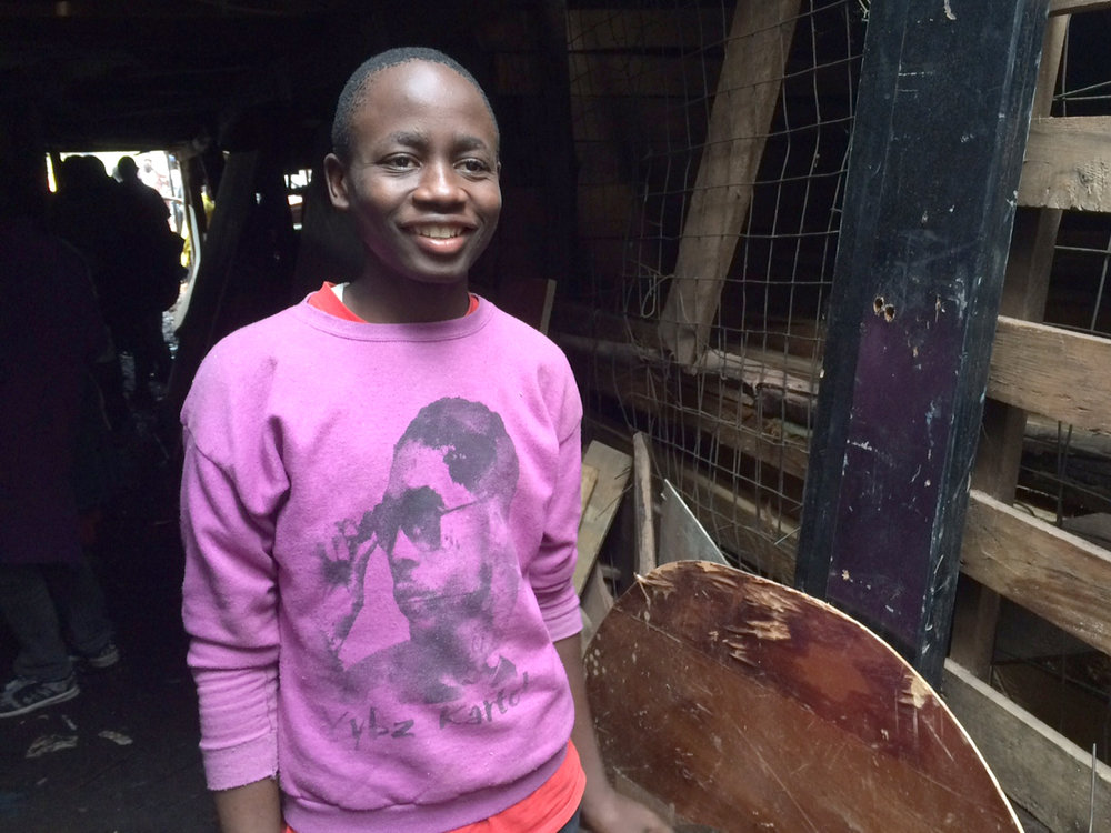 Ronald, 18, graduated from the Shelter carpentry program in December and now works in a carpentry workshop in Kenya's capital city. The skills he learned at the Shelter allow him to support himself.