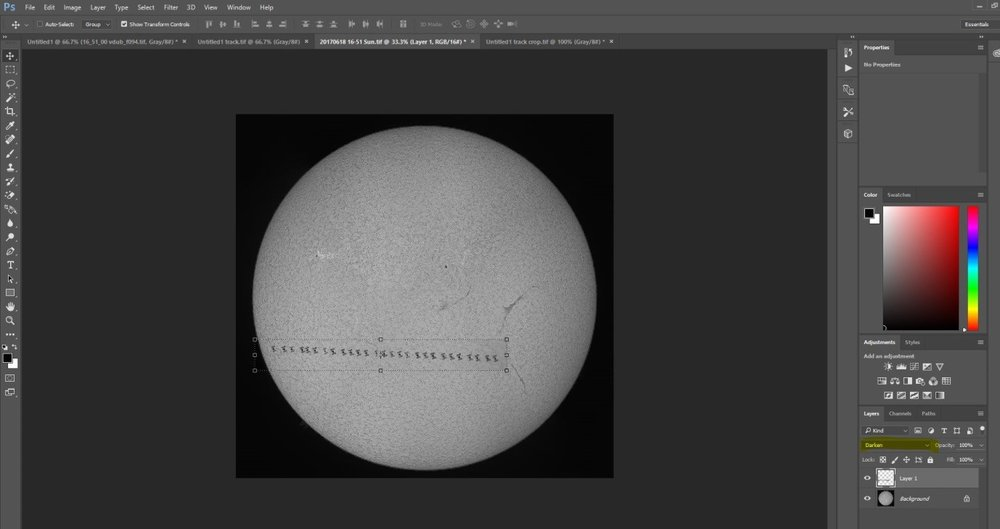 Now paste your cropped composite onto your full disk solar image