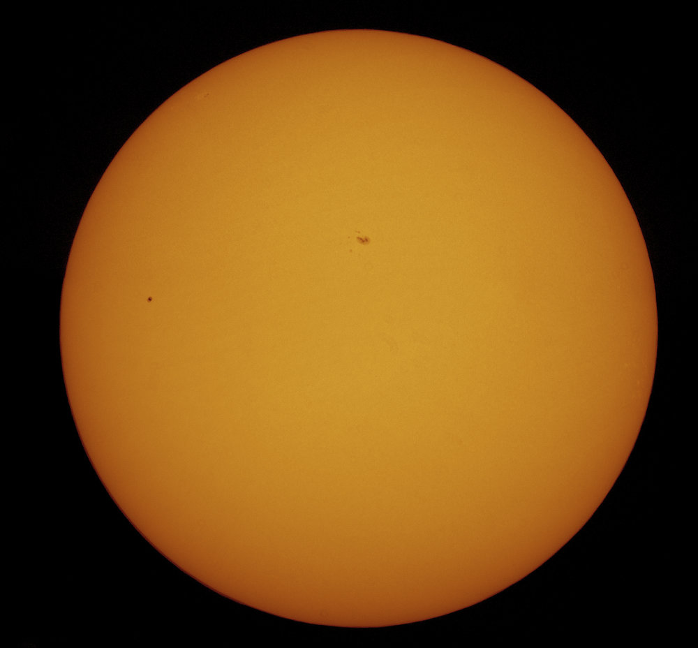 Mercury transiting the Sun - white light, false colour