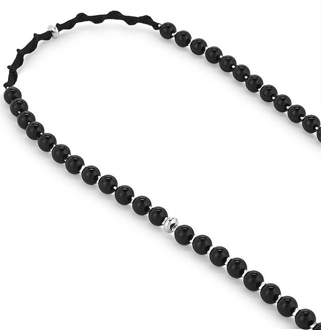 Black Agate mala necklace with silver @theofficialselfridges #blackagate #blackdakini #malanecklace #108 #selfridges